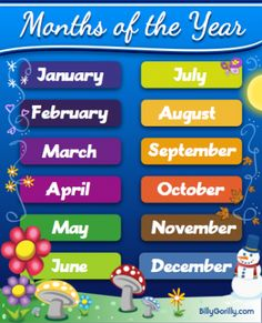 Names of the 12 Months of they Year with a pretty picture
