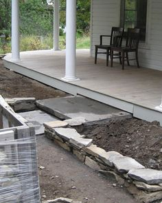 Raise beds near house?  Besides ensuring good drainage and leveling uneven ground, the structures obviate the labor involved in digging and amending compacted soil. The beds were refilled with a growing mix of equal parts topsoil and compost.