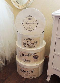 Medium Round Hat Box Hatbox Vintage Jeanne d' Arc Living Inspired Storage Chapeaux Dieppe Paris French Text