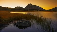 vermillion lakes sunrise 2 - You have to get up really early to get this image and need a bit of luck with the sky at sunrise at Vermillion Lakes near Banff. Vancouver, Sunrise Lake, Canadian Rockies, Cool Landscapes, Banff, Rocky Mountains, Nature Photos, Land Scape