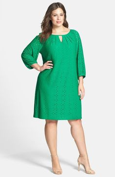 Nordstrom Clothes - London Times Keyhole Detail Eyelet Shift Dress (Plus Size) African Fashion Dresses, African Dress, Plus Size Dresses, Plus Size Outfits, Curvy Fashion, Plus Size Fashion, Women's Fashion, Xl Mode, Business Mode