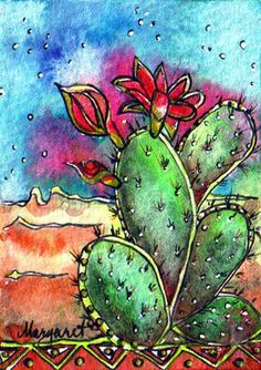 Margaret Storer-Roche: BATIK #71 DREAMY PRICKLY PEAR