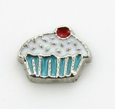 Cupcake With Sprinkles Floating Locket Charm at www.showyourcharm.com A blue paper cup holds this jewelry charm treat. Whether you like to bake them or just eat them, add this to your floating locket food collection.