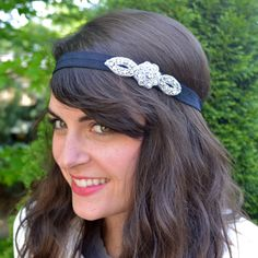 Sparkly Navy Blue or Black Headband, Tiny rhinestone flower headband for women and teens by Jill's Boutique on Etsy on Etsy, $26.00