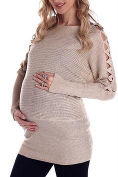 Beige Gold Knit Open Sleeve Maternity Sweater