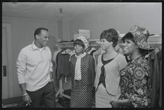 Harry Belafonte visiting The Supremes, Diana Ross, Florence Ballard and Mary Wilson, backstage at the Greek Theater in Los Angeles in August 1965.