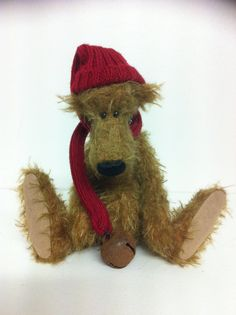 AUSSIE....6 Mohair Bear in a Red Hat/ Scarf by LoveBuzzBears, $75.00
