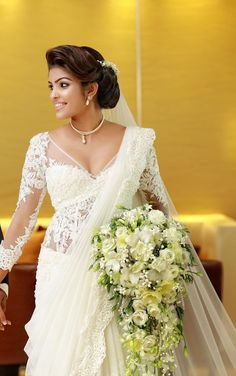christian bride in white saree and jewellery Christian Wedding Sarees, Christian Bride, Saris, White Saree Wedding, White Bridal, White Sari, Wedding Attire, Wedding Bride, Wedding Gowns