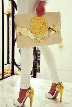 Gold and white shoes and clutch