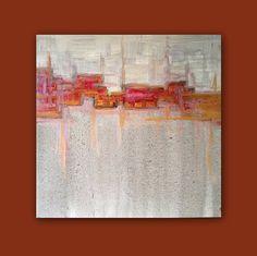 "Abstract Acrylic Painting Original Fine Art 12""x12"" by Linnea Heide - red grey gold. $50.00, via Etsy."