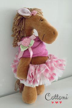 Brown velvet handmade horse COTTONI