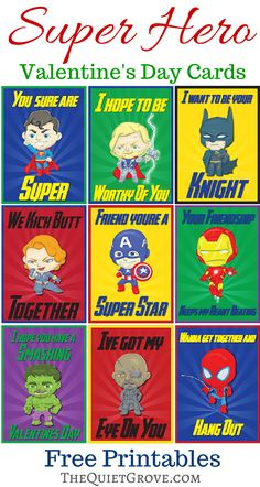 Free Super Hero Valentine Card Printables