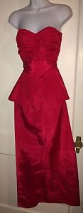 VINTAGE  Dress Roberta CA Red Strapless Sexy Sz 5/6 FREE Shipping