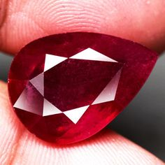 17.56CT.19.8x14.1mm.TITANIC! PEAR FACET Top Blood Red NATURAL Ruby MADAGASCAR NR #GEMNATURAL