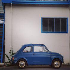 The calmness of a little blue #Fiat500.