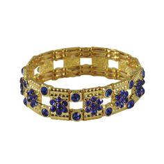 Little Treasure Sapphire Blue Crystal Gold Stretch Bracelet