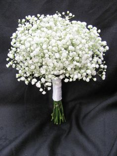 Bridesmaids bouquet of babies breath.