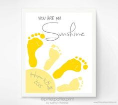11x14 inch You Are My Sunshine Wall Art Print - Footprint Sun, Playroom Art, Sibling Art, Gray & Yellow Nursery Art, Baby Footprint Art on Etsy, $48.00