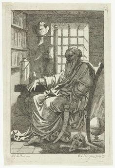 Philippe Louis Parizeau | Geleerde in zijn studeervertrek, Philippe Louis Parizeau, 1771 | Een geleerde zittend op een stoel in zijn studeervertrek, naast hem een papegaai op een stok.