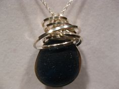 Deep Dark English Wire wrap Seaglass necklace by SamiSeaglass, $30.00