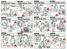 Safe Baby Handling Tips by David Sopp (Author), Kelly Sopp – Now incompetent parents everywhere can benefit from this indispensable guide, which also includes a unique Wheel of Responsibility™ to help moms and dads negotiate baby chores    Baby Handling, Funny Images, Funny Pictures, Funny Pics, Nouveaux Parents, Baby Care Tips, Baby Tips, Parenting 101, Funny Parenting
