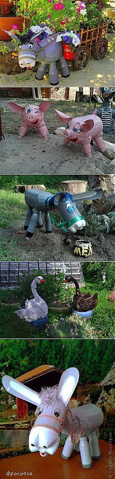 Excellent Ideas of hand-made articles for the yard! Hand-made articles from plastic bottles. Reuse Plastic Bottles, Plastic Bottle Crafts, Plastic Art, Recycled Bottles, Recycled Crafts, Soda Bottle Crafts, Clay Pot Projects, Clay Pot Crafts, Crafts To Make