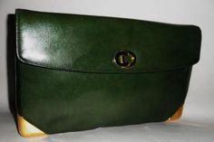 Christian Dior Vintage Green C D Emblem Lg Clutch 2 Way Bag