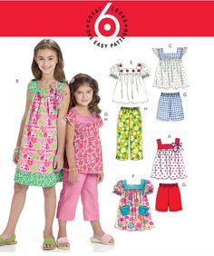 GIRLS PEASANT TOP Dress Sewing Pattern - Girl Dresses Tops Shorts & Pants 4 Sizes 6022 #patterns4you