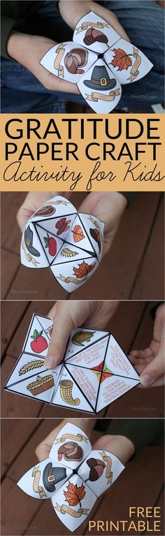 Help children practice thankfulness with this gratitude activity for kids. This easy Thanksgiving craft is a free printable Thanksgiving Cootie Catcher. Learn how to fold a cootie catcher / paper fortune teller. (fall crafts for kids printable) Thanksgiving Crafts For Kids, Thanksgiving Decorations, Fall Crafts, Holiday Crafts, Thanksgiving Prayer, Thanksgiving Appetizers, Thanksgiving Outfit, Rock Crafts, Thanksgiving Recipes