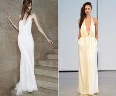 Os vestidos tomara-que-caia são os queridinhos das brasileiras, mas uma foste tendência que vem chegando como substituto são os modelos em V. Coleção Vera Wang e Houghton (Vogue)
