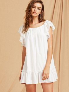 ¡Consigue este tipo de vestido informal de SheIn ahora! Haz clic para ver los detalles. Envíos gratis a toda España. Eyelet Embroidered Flutter Sleeve Bow Back Tiered Hem Dress: White Casual Cute Cotton Boat Neck Cap Sleeve A Line Tent Short Cut Out Bow Embroidery Ruffle Plain Fabric has no stretch Summer YES Dresses. (vestido informal, casual, informales, informal, day, kleid casual, vestido informal, robe informelle, vestito informale, día)