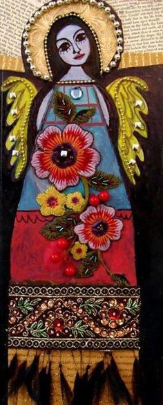 Gorgeous mixed media angel with Mexican motif look by Heather Galler