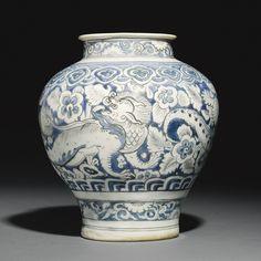 A Safavid blue and white jar, Persia, 16th century
