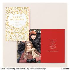 Gold Foil Pretty Holidays Photo Greeting Card Holiday Day, Holiday Photos, Christmas Photos, Christmas Stuff, Christmas Eve, Christmas Decor, Christmas Greeting Cards, Christmas Greetings, Holiday Cards