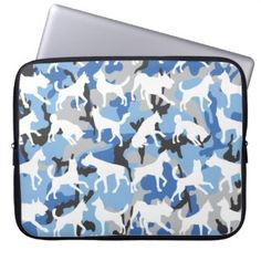 Camo dogs blue laptop sleeve #ad
