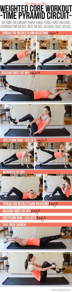 Weighted Core Workout (Time Pyramid Are you guys sick of core workouts? I know I post a ton, but the reasons I love them are many: It all comes back to the core. Even when you're isolating the legs or arms in an exercise, your core i… Fun Workouts, At Home Workouts, Core Workouts, Weighted Core Workout, Fitness Tips, Fitness Motivation, Workout Fitness, Fitness Challenges, Health Fitness