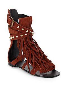 Giuseppe Zanotti Studded Suede Fringed Open-Toe Sandals - Dark Brown -