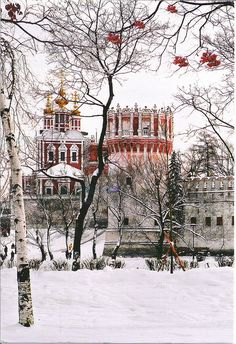 Novodevichy Convent in winter. Beautiful architecture! #Moscow, #Russia.