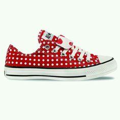 Red polka dot converse.