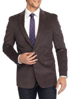 Tommy Hilfiger Gray Classic-Fit Stretch Cord Sport Coat With Elbow Patch