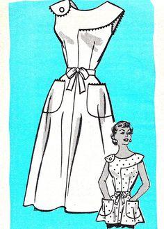 1950s Dress Pattern Marian Martin 9362 Full Skirt Sleeveless Sundress or Top Shoulder Button Trim Mail Order Vintage Sewing Pattern Bust 34