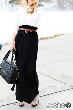 how to wear my too-long maxi skirt
