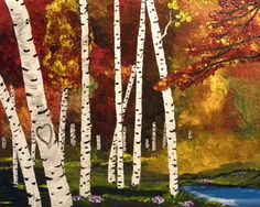 Personalized Custom PaintingBirch Tree Love by StacysArtStudio on etsy.