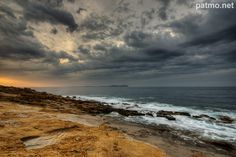 Cloudy morning on the Mediterranean sea at Carqueiranne in Provence.
