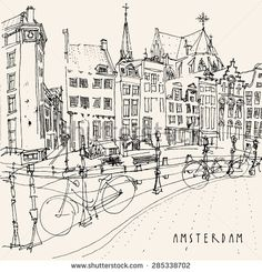 Amsterdam, Holland, Netherlands. View of old center with bicycles. Dutch traditional historical buildings. Monochrome freehand drawing isolated vector. Postcard template with Amsterdam hand lettering