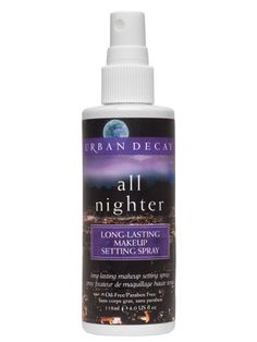 Urban Decay All Nighter Long-Lasting Makeup Setting Spray  Urban Decay's setting spray is moisture resistant to help makeup last through perspiration, stress, and even those summer wedding cries