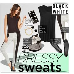 Dressy Sweats: Black & White by stacey-lynne on Polyvore featuring polyvore fashion style T By Alexander Wang Nation LTD Schutz Abercrombie & Fitch Janna Conner Designs Kate Spade