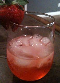 Birthday Weekend Cocktail from  the Devilish Dish~~Moscato wine,vanilla vodka,strawberry soda