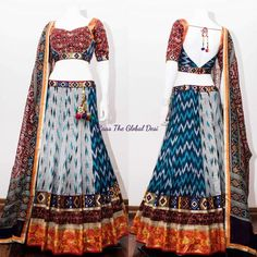 chaniya choli 2017 Silk Chania with designer brocade blouse and contrast dupatta Garba Dress, Navratri Dress, Choli Dress, Cotton Lehenga, Lehenga Gown, Anarkali, Banarasi Lehenga, Bridal Lehenga Online, Lehenga Choli Online