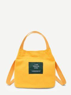 438c315b8ec6 Letter Print Canvas Handbag Waxed Canvas Bag